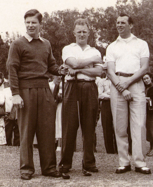 Mackie at Muirfield. Jock (left) with Ken Kinghorn and Max Faulkner at the Open in 1959