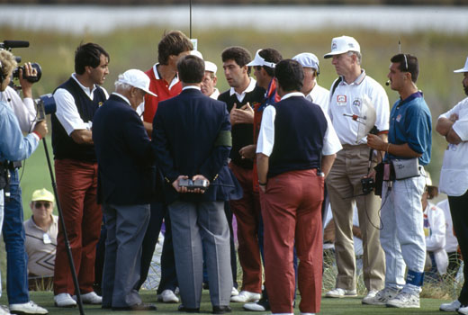 Seve and Azinger fail to see eye-to-eye at the 1991 Ryder Cup
