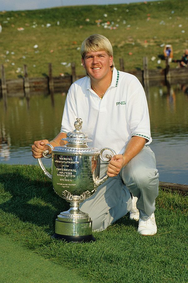 Daly poses with the Wanamaker Trophy after his surprise victory at the 1991 PGA Championship