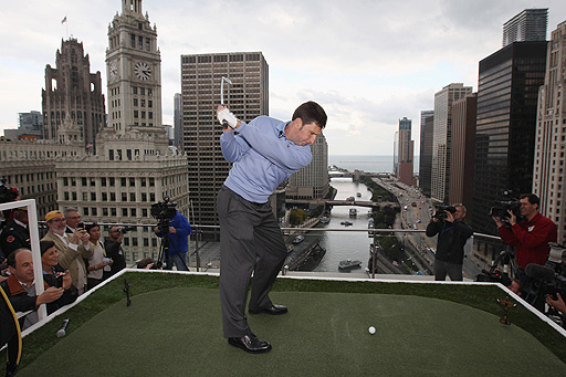 "The Spaniard marked the ""Year Out"" countdown to the Ryder Cup by thumping golf balls from the 16th floor of a skyscraper in Chicago, host city of September's biennial event"