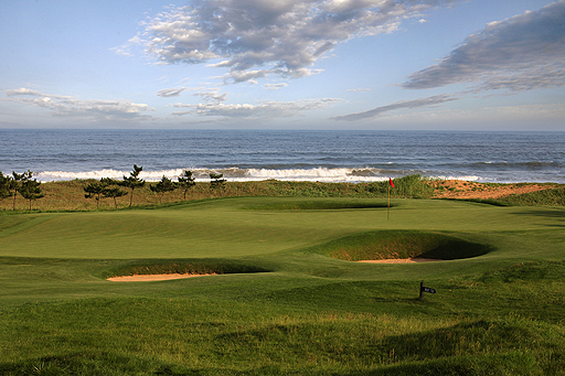 Sand and sea: The par-4 seventh hole at Tiger Beach Golf Links near Qingdao, one of Asia's most unique courses