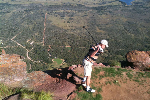 Perched 1,400 feet above the green, the teebox on the extreme 19th is not for the faint of heart
