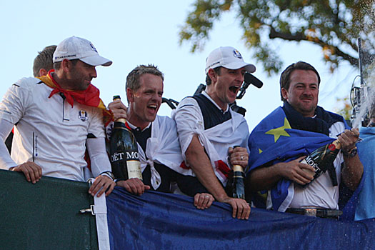 Garcia, Donald, Rose and McDowell celebrate Europe's drama-packed win at last year's Ryder Cup