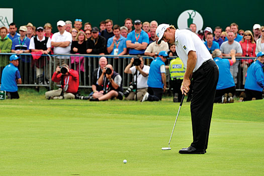 Els rolls in this 12-foot putt on the final green at Lytham