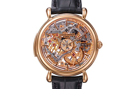 From 2004, an 18k pink gold skeletonized minute repeater with a sapphire dial