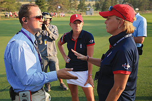 Dottie Pepper in a heated discussion with a referee at this year's Solheim Cup