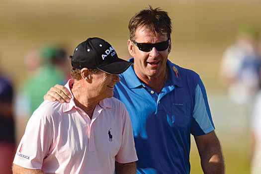 Ryder Cup captains of past and present: Nick Faldo and Tom Watson