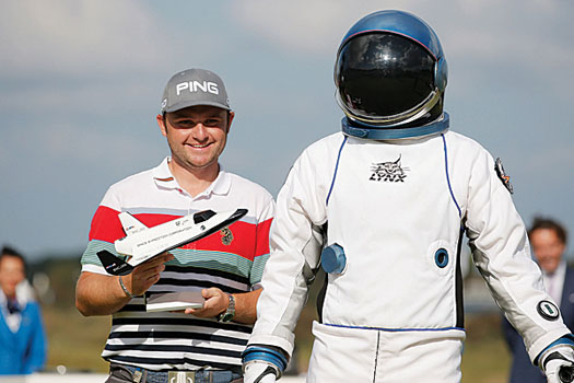 Andy Sullivan received one of the more unusual prizes for his hole-in-one at the KLM Open