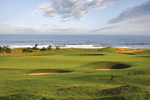 The green at the par-4 seventh at Tiger Beach Golf Links