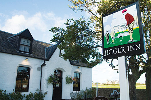 The Jigger Inn lies adjacent to the 17th fairway of the Old Course