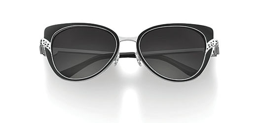 Cat eye shape, black lacquer, platinum finish, mother-of-pearl cabochon, grey lenses