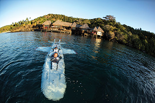 The resort's mini submarine takes guests on an underwater tour of the surrounding lagoon