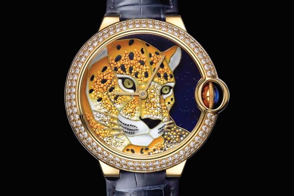 Ballon Bleu de Cartier watch Enamel granulation with panther motif