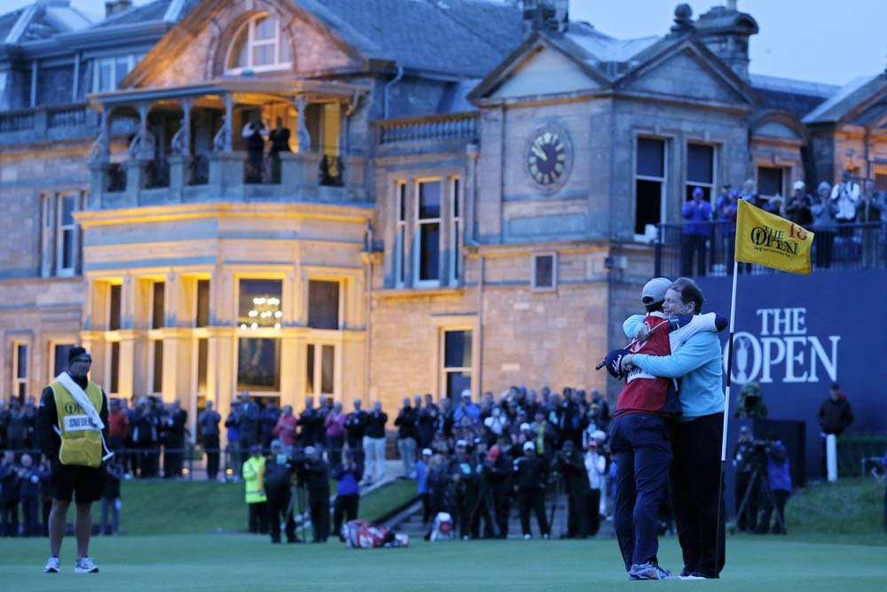 Tom Watson and his caddie Michael Oxman following last year's Open