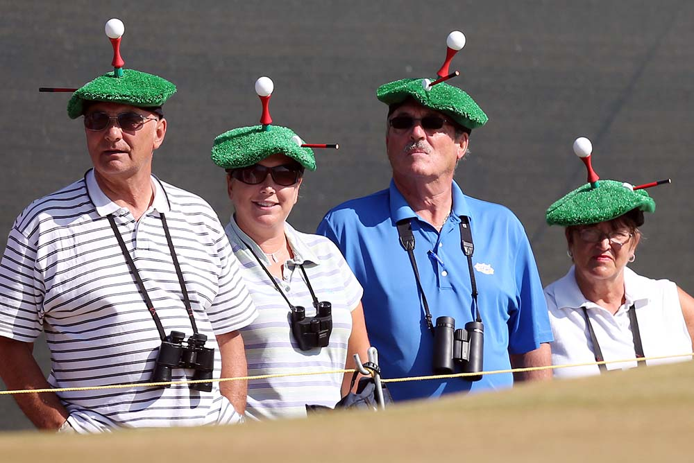 Spectators attend the second round of the 2013 Open Championship at Muirfield golf course at Gullane