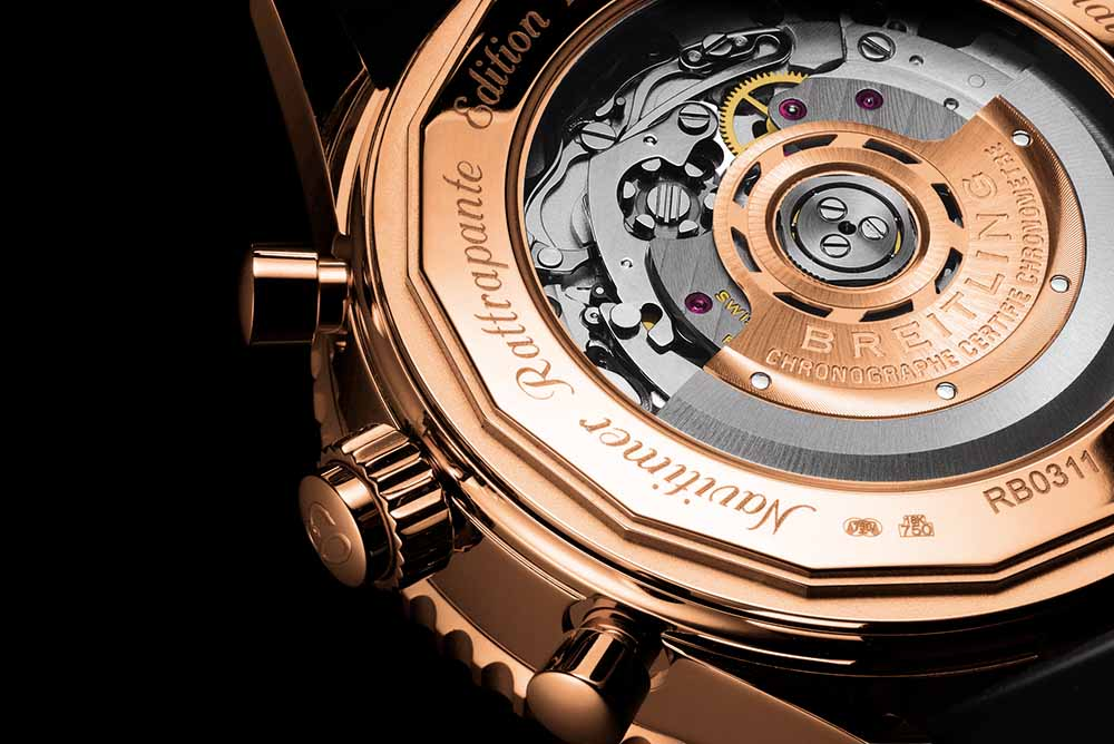 The Navitimer Rattrapante red gold limited edition equipped with a transparent case-back