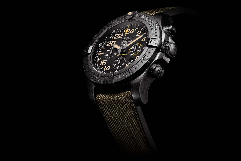 The Avenger Hurricane Military is powered by Manufacture Breitling Caliber B12