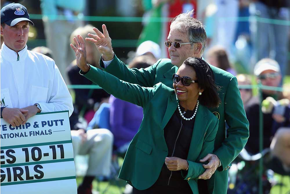 Condoleezza Rice, former Secretary of State and current Augusta National Member, and Billy Payne, Chairman of Augusta National Golf Club, are pictured together during the Drive, Chip and Putt Championship