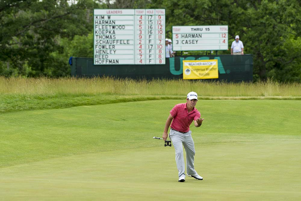 Brian Harman reacts to a missed birdie putt on the 16th during the third round