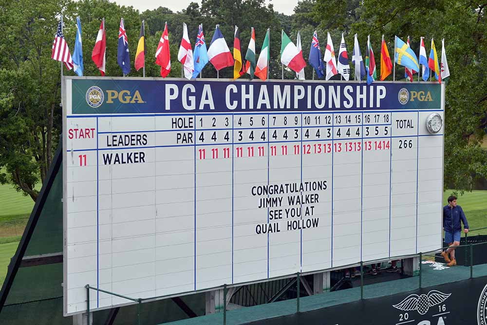A note on the leaderboard congratulates Jimmy Walker on winning the 2016 PGA Championship