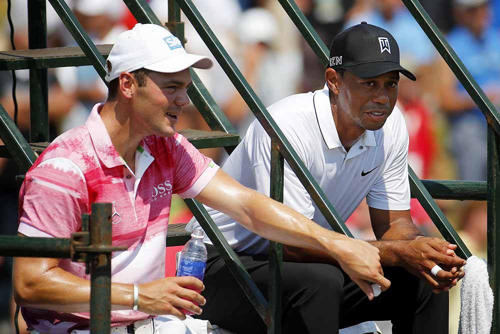 Martin Kaymer and Tiger Woods talk during the 2015 PGA Championship