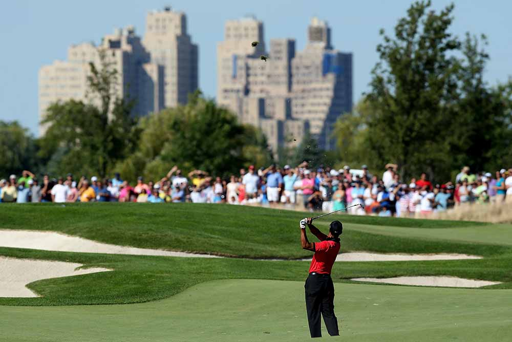 Tiger Woods at Liberty National Golf Club in 2013
