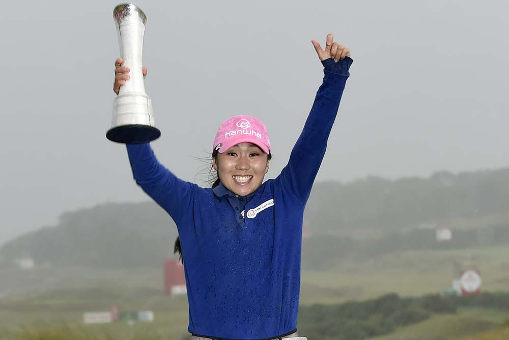 Korea's In-Kyung Kim celebrates her victory in the 2017 Women's British Open Golf Championship