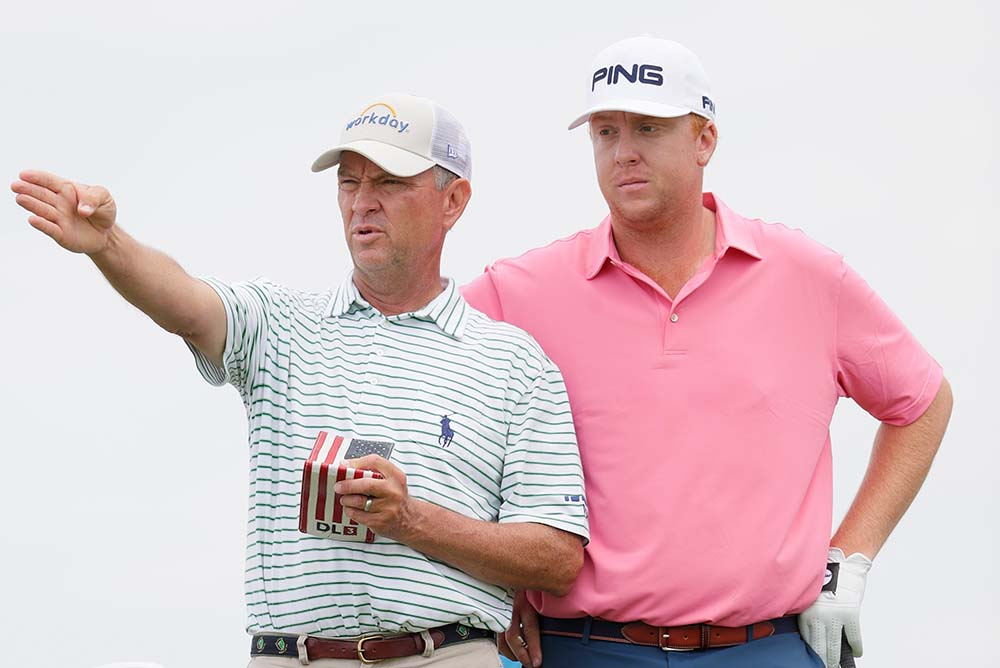 Davis Love IV and his father Davis Love III who caddies for him