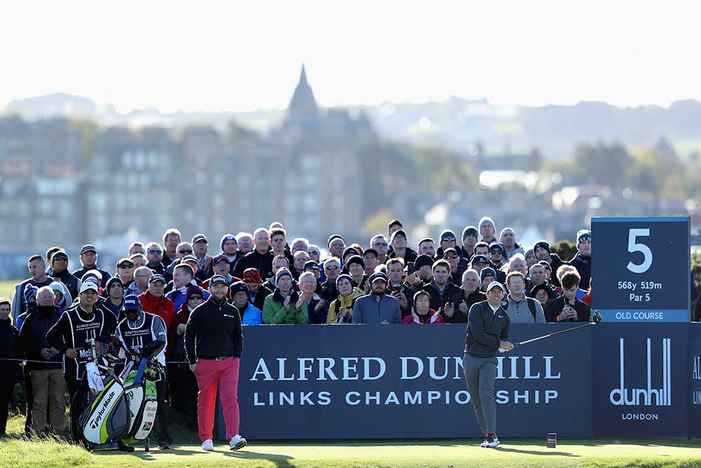 Rory McIlory looks at his tee shot on the 5th of the Old Course in St Andrews
