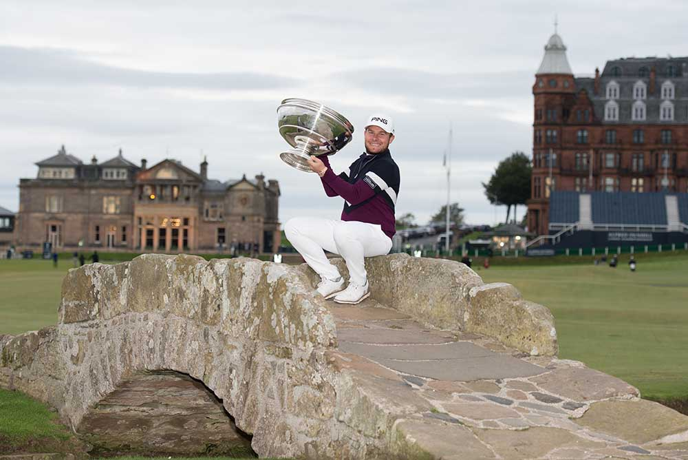Tyrrell Hatton poses with his Alfred Dunhill Links Championship trophy