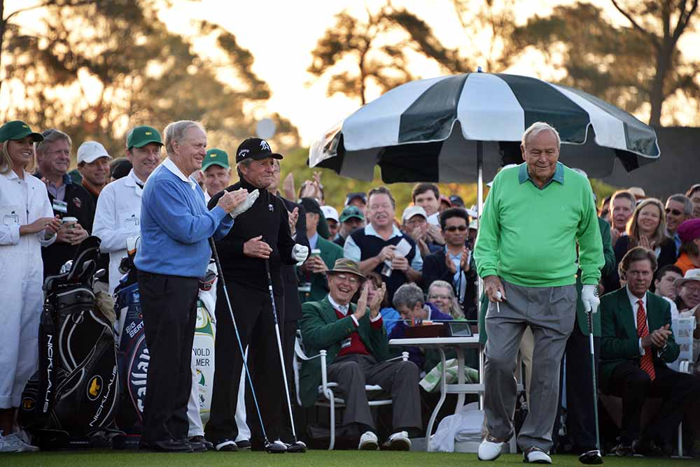 Arnold Palmer, Jack Nicklaus and Gary Player prepare to tee off