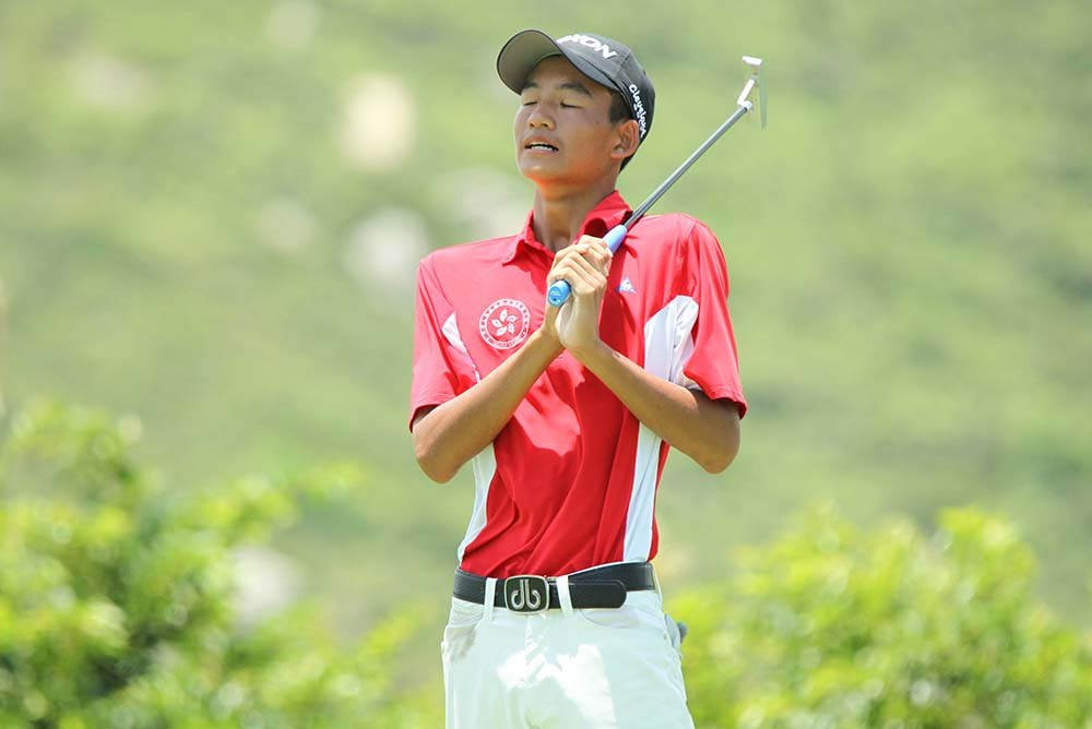 Taichi Kho reacts to a missed putt