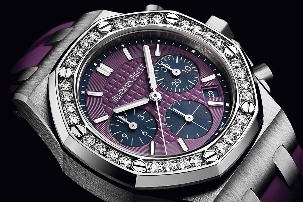 "Royal Oak Offshore 37mm stainless steel case with ""Lady Tapisserie"" pattern purple dial and purple rubber strap"