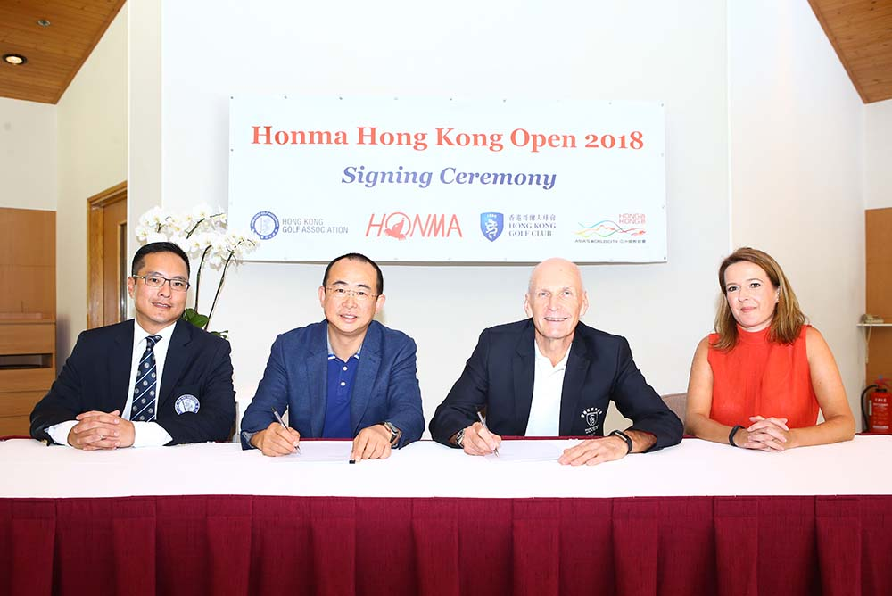 2018 Honma Hong Kong Open Official Signing Ceremony. (L-R) Kenneth Lam, Vice President, Hong Kong Golf Association; Liu Jianguo, CEO, Honma Golf; Martin Hadaway, Captain, Hong Kong Golf Club; Vicky Jones, Championship Director, European Tour