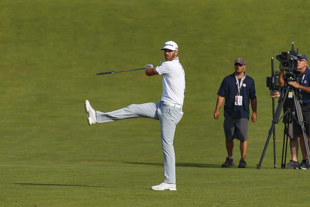 Dustin Johnson reacts to a shot during the final round