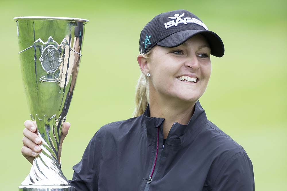 Anna Nordqvist with the trophy at the Evian Championship 2017