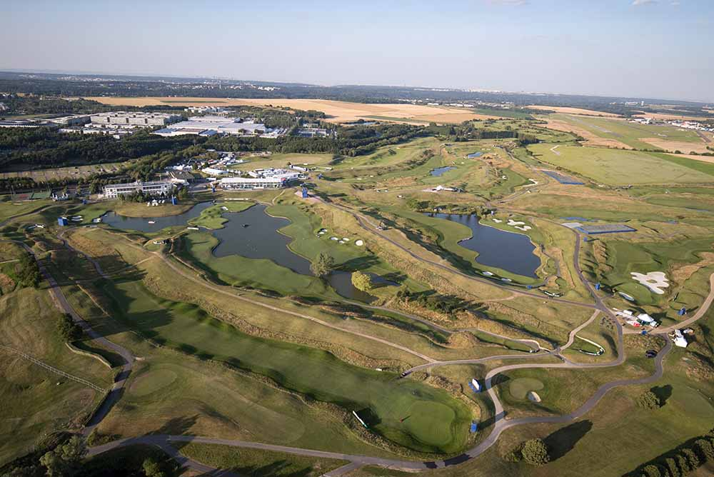 An aerial view shows the Albatros course at Le Golf National