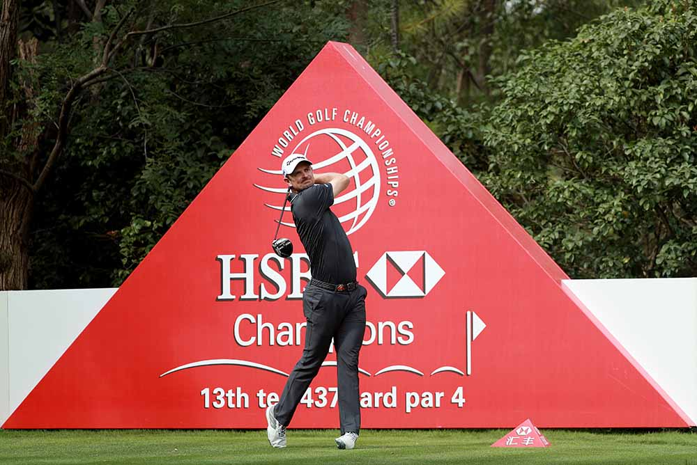 Justin Rose plays his shot during the 2017 WGC-HSBC Champions