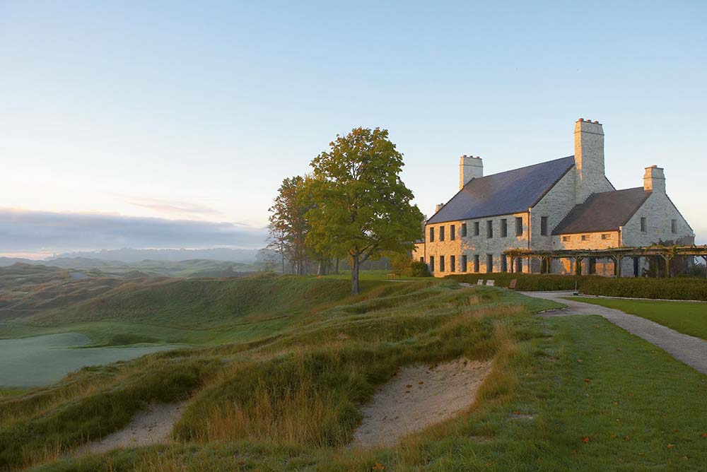 """Whistling Straits - Clubhouse view from Straits Course, Hole 18 """"Dyeabolical"""""""