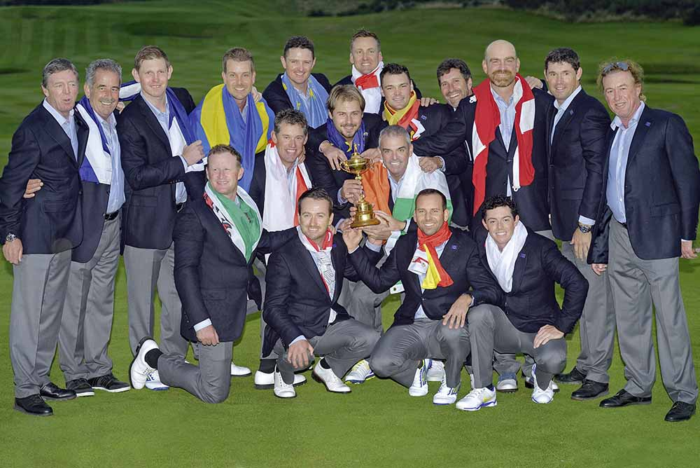 Ryder Cup Captain Paul McGinley with the victorious 2014 European Team