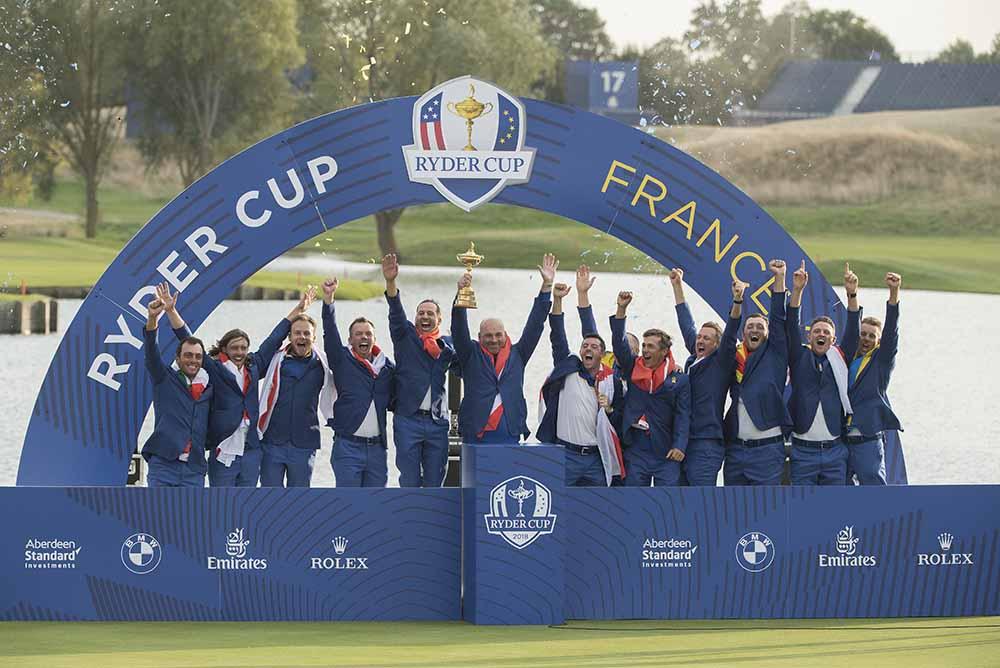 European Team celebrates winning the 2018 Ryder Cup