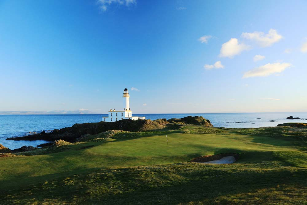 The entirely new ninth hole at Trump Turnberry with the iconic lighthouse